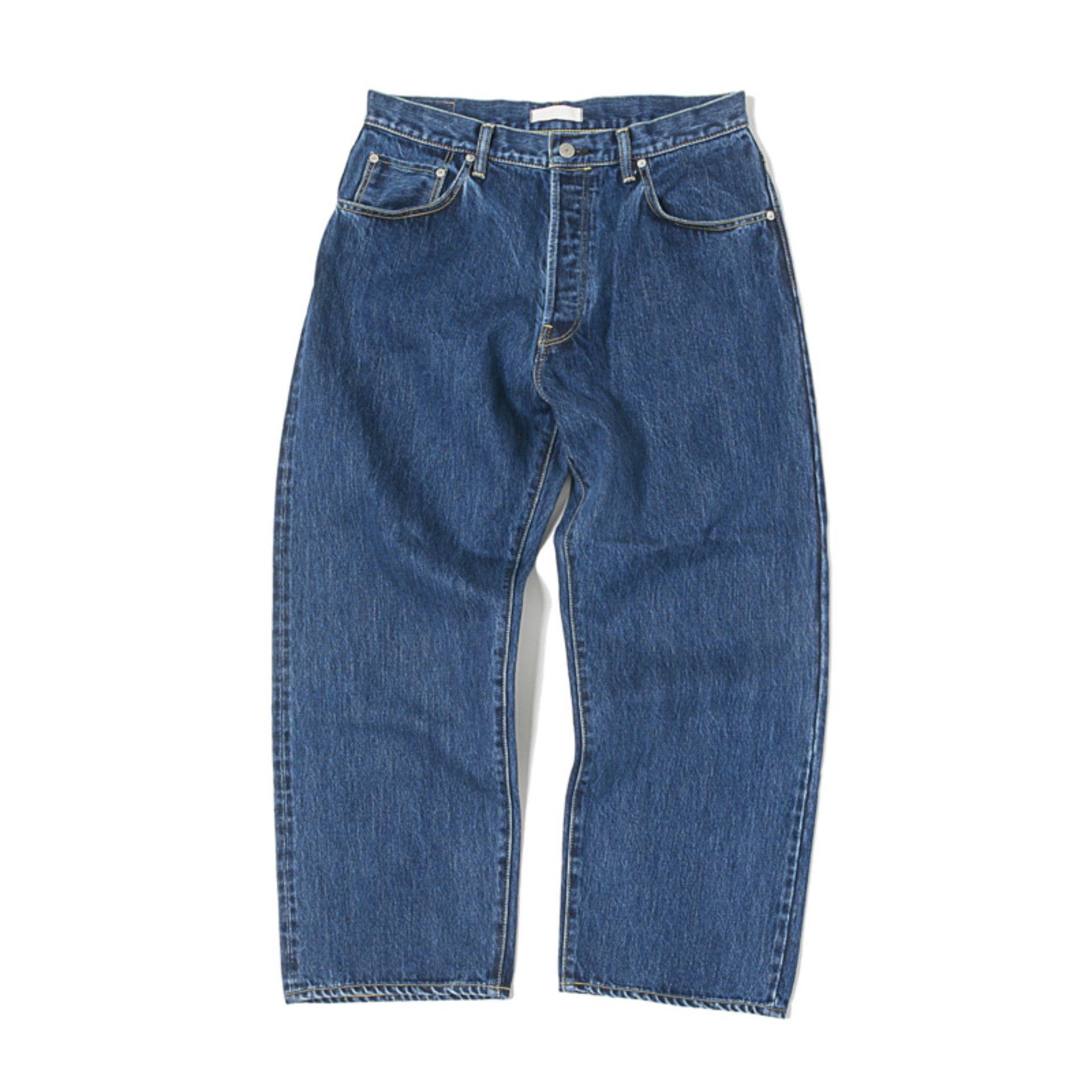 HATSKI WIDE TAPERED DENIM PANTS(MID BLUE)