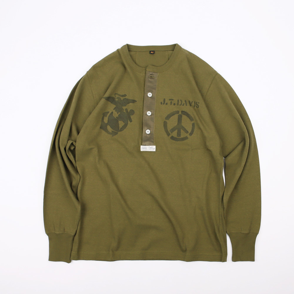 "[Power Wear]Henley Necked LS T-shirts ""BORN TO KILL""(Olive)"