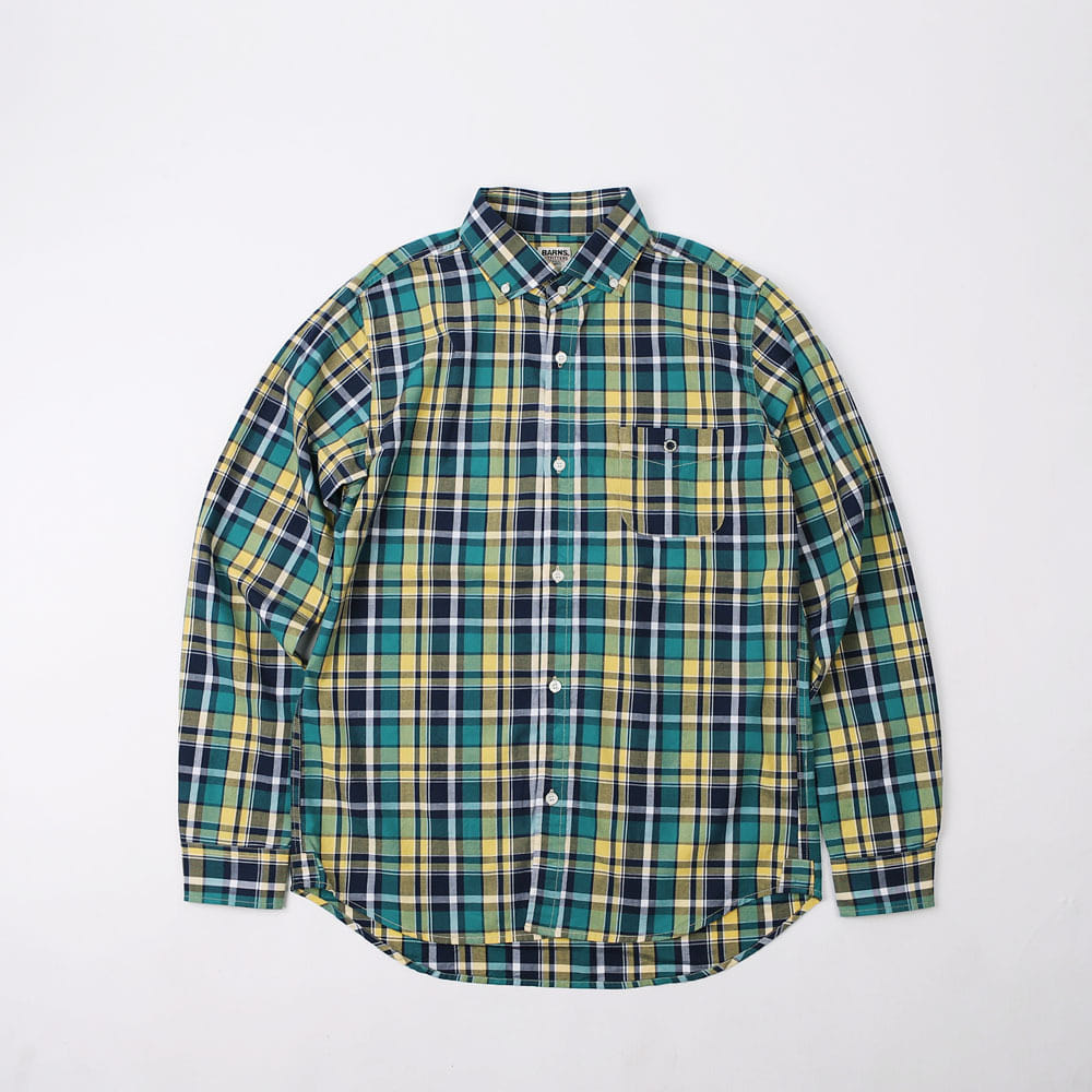 MADRAS WIDE SPREAD COLLAR SHIRT(Green / Yellow)