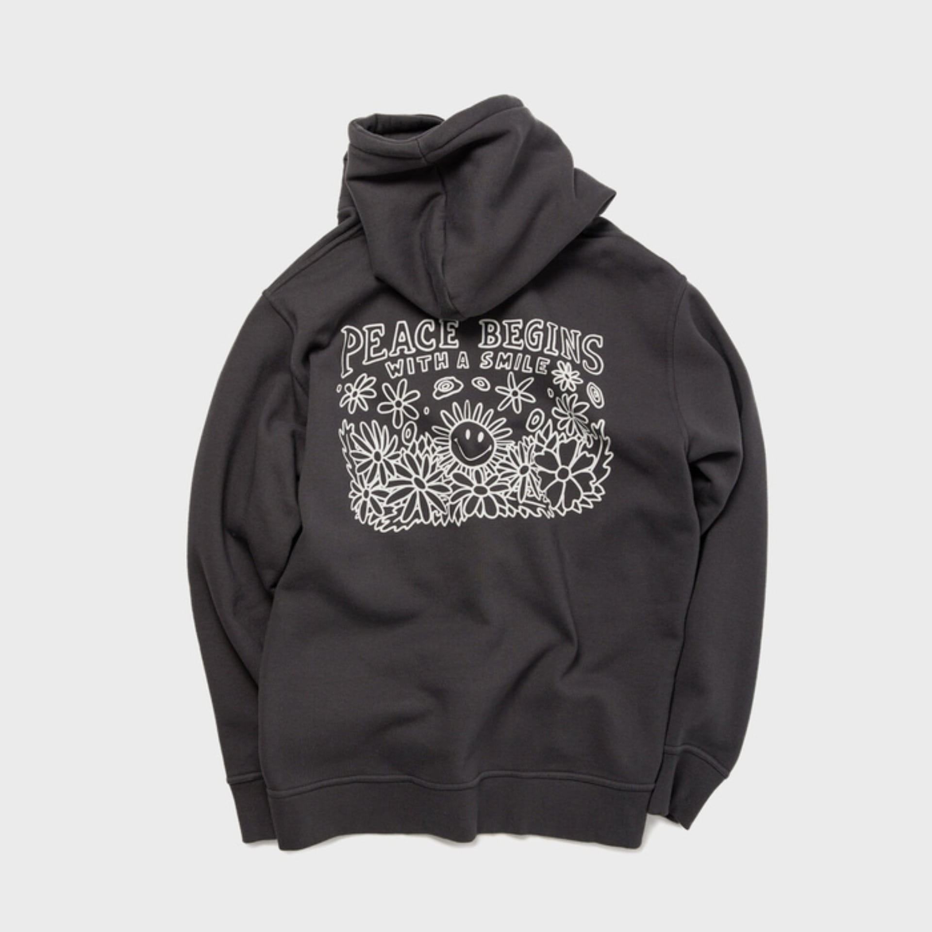 PEACE BEGINS SMILE HOODIE (IRON GRAY)