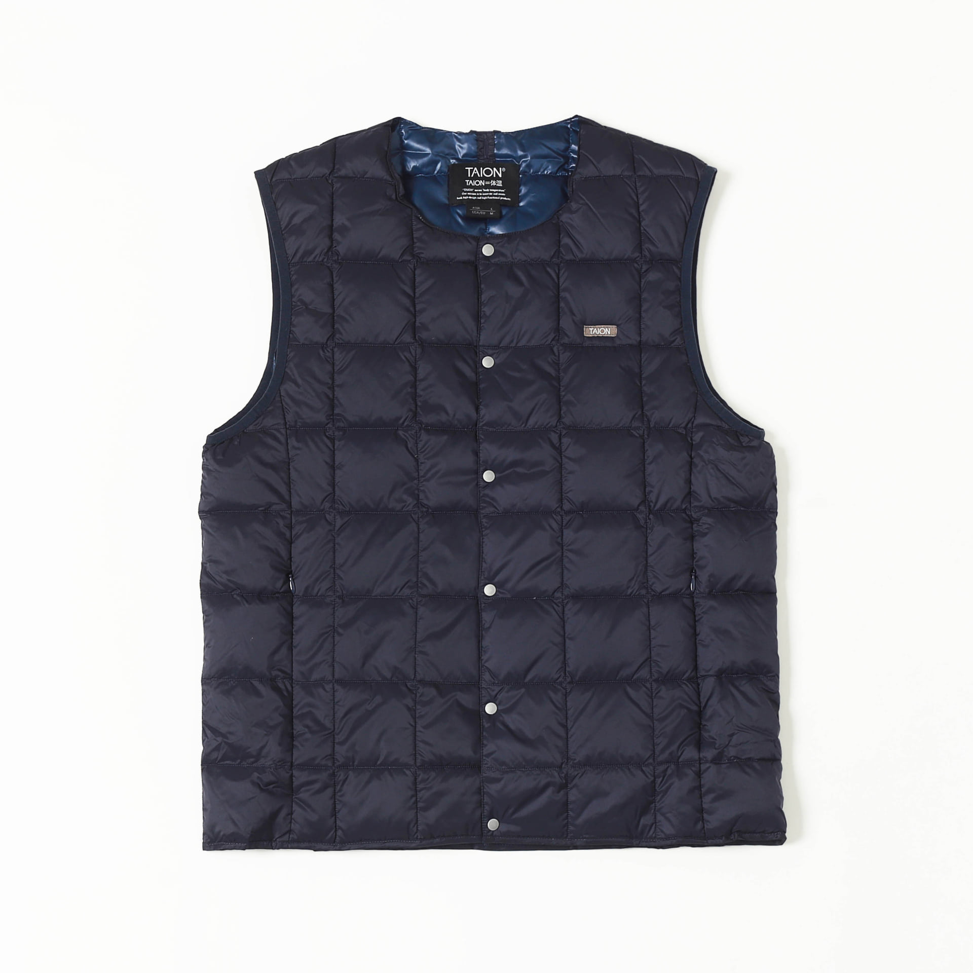 CREW NECK BUTTON DOWN VEST (Navy)