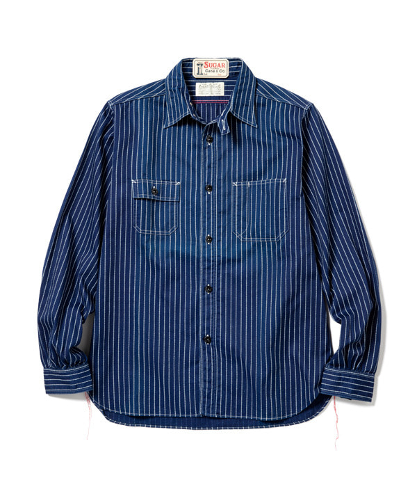 FICTION ROMANCE 8.5oz. WABASH STRIPE WORK SHIRT (Indigo)