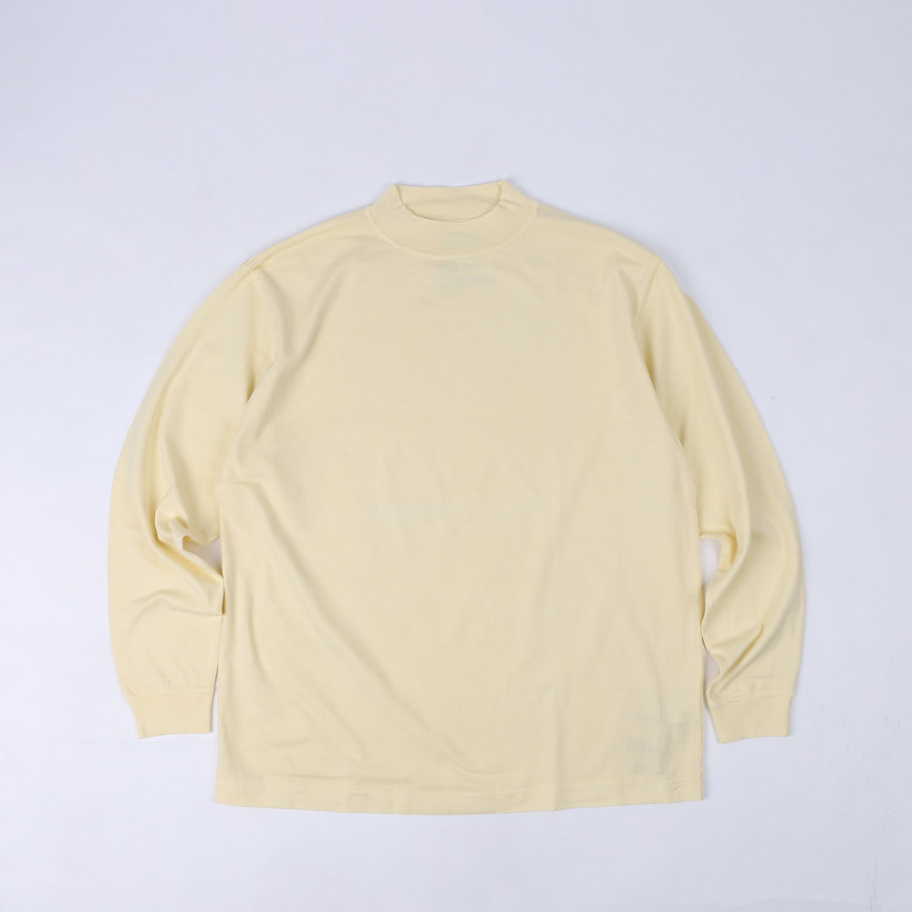 GARMENT DYED MOCK NECK L/S T-SHIRT (Yellow)