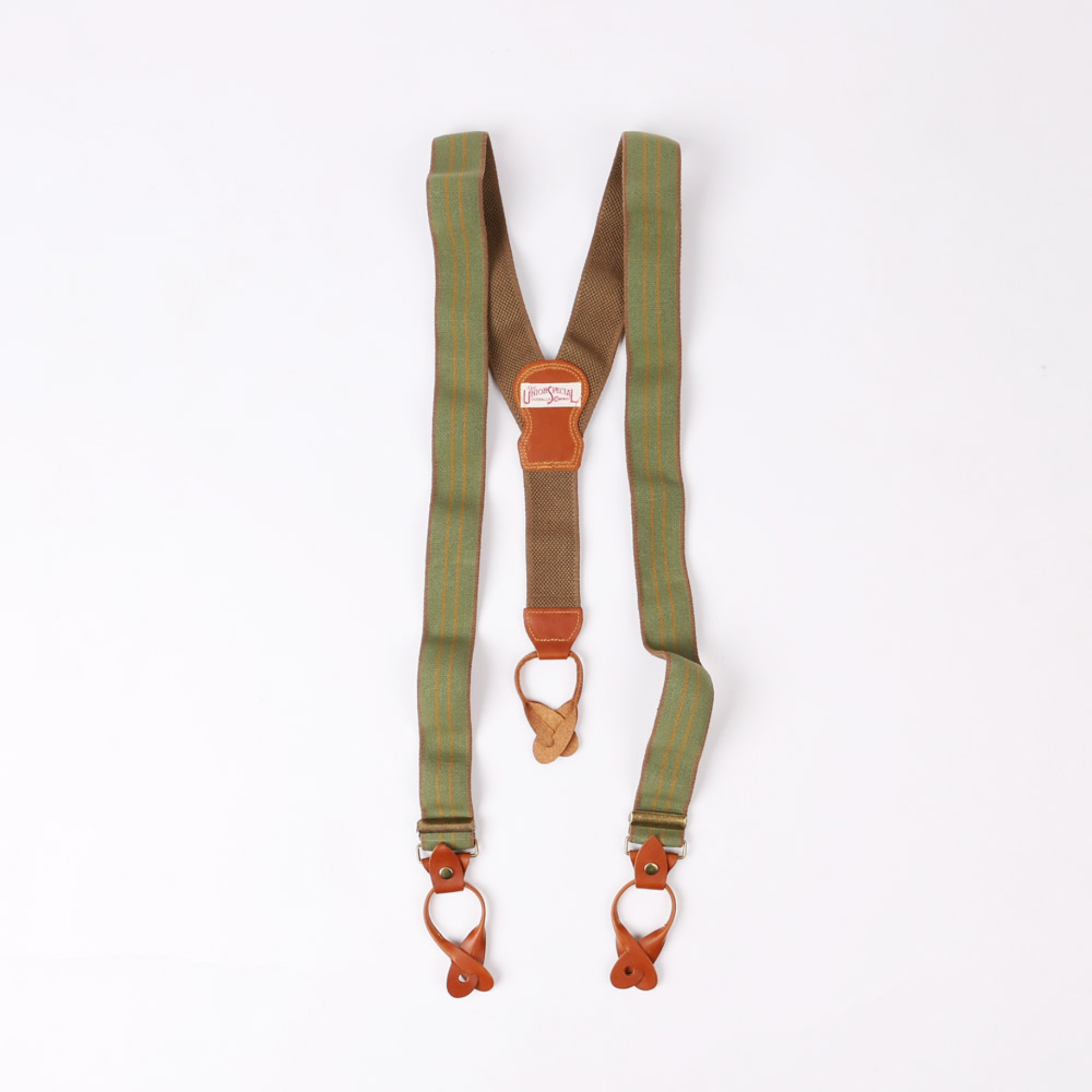 "[Union Special Overalls]Suspender""HEAVY STRONG SUSPENDERS""(EVERGREEN X BROWN X MUSTARD)"