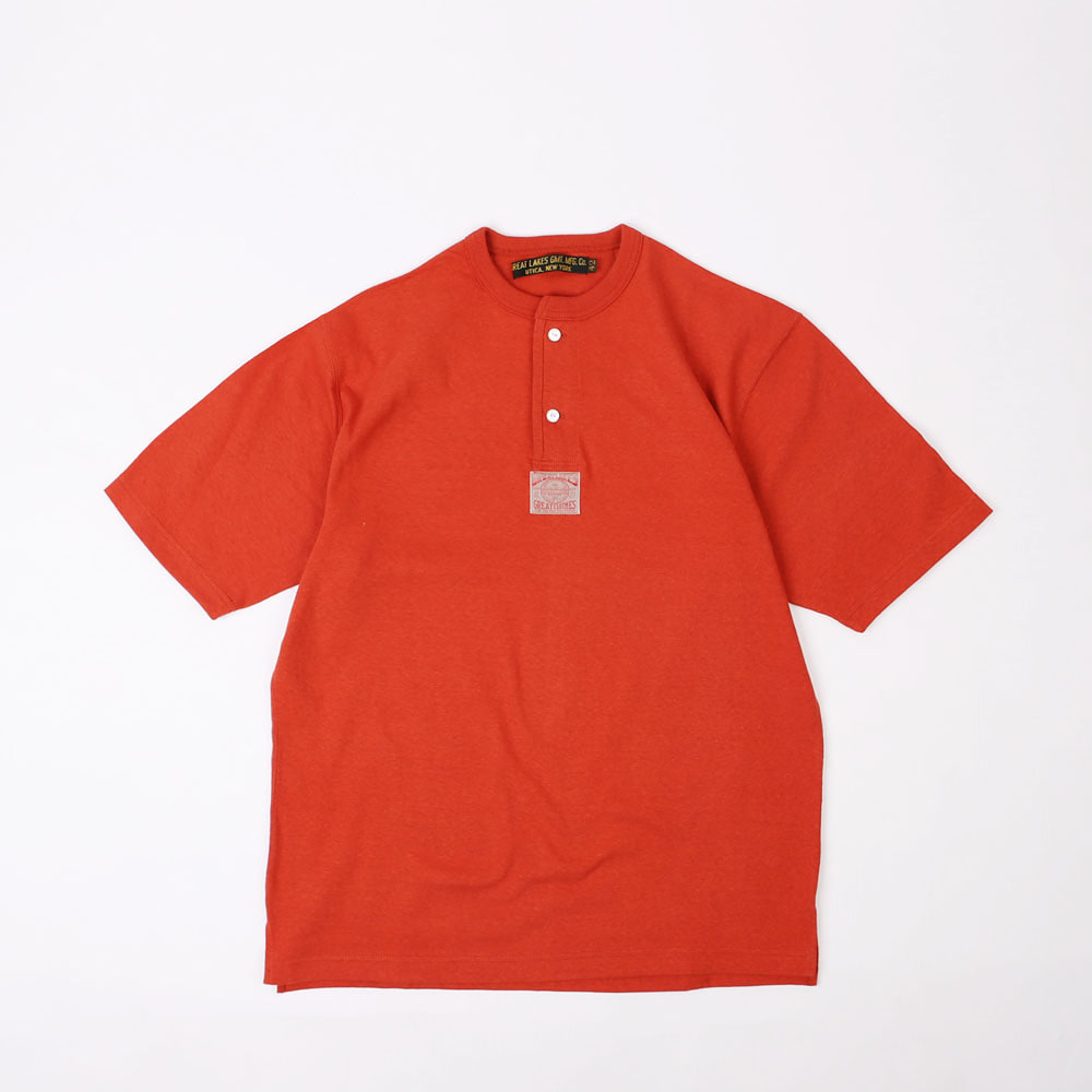 "[Great Lakes GMT. MFG. Co.]""Henley Necked S/S Shirt"" (Dry Red)"