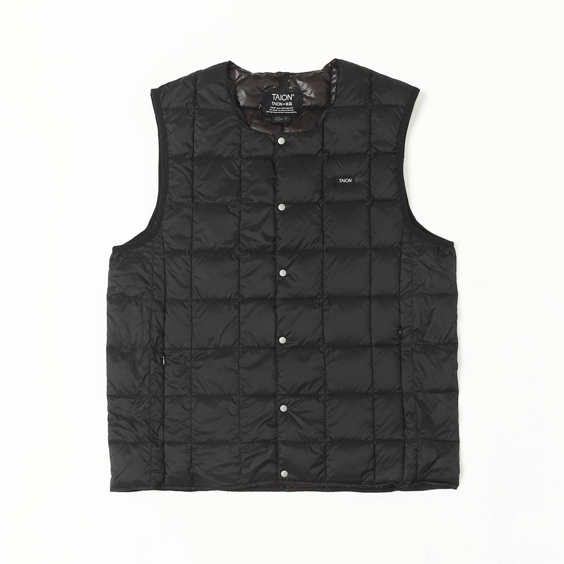 CREW NECK BUTTON DOWN VEST (Black)