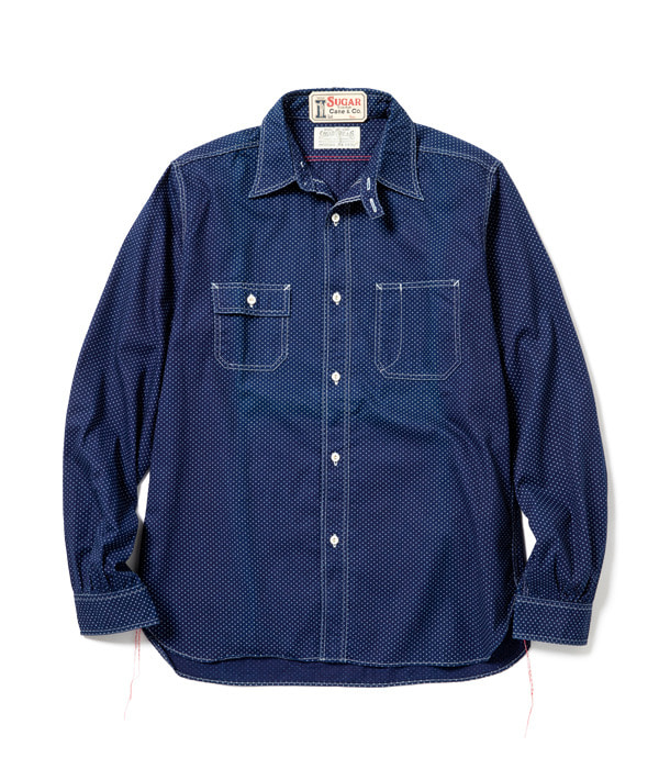 ROMANCE 4.5oz. POLKA DOT WORK SHIRT (Indigo)