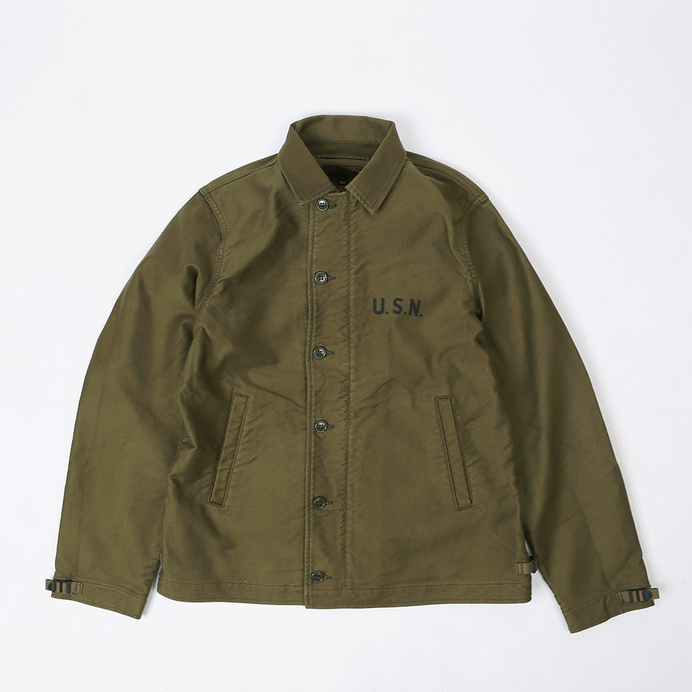 "[Union Special Overalls]DECK WORKER JACKET""U.S.N STENCIL""(Olive)"